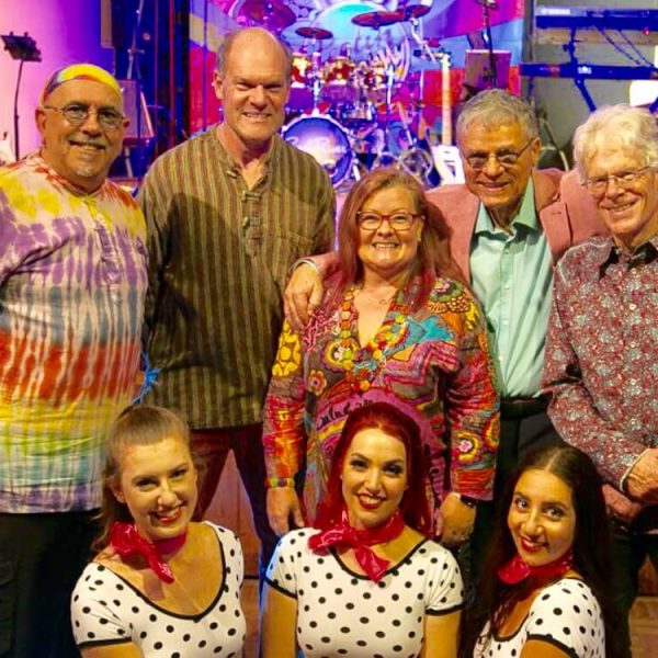 The Cool River Band and their fabulous Riverettes Dancers after their debut performance of the Feelin' Groovy 60's Music Show at Club Willoughby in Sydney. Photo courtesy of All Things Entertainment.