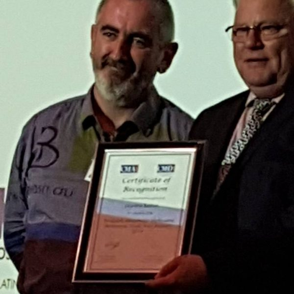 Gordon Laffan Stockton Bowling receiving his bursary from the CMA - All Things Entertainment. Gordon discussed live entertainment and its value to the Stockton Bowlo for this article.