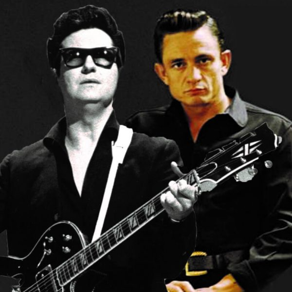 Roy Orbison and Johnny Cash pictured together. Their friendship is explored in the Heaven and Hell Rockumentary Starring Slim Pickens and Barry Ferrier and represented by All Things Entertainment