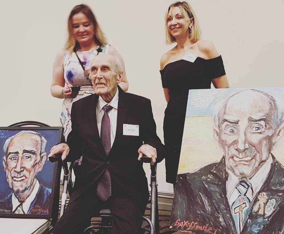 Les Evennett honoured ahead of his 100th birthday with portraits painted live by Sophie Donnelly