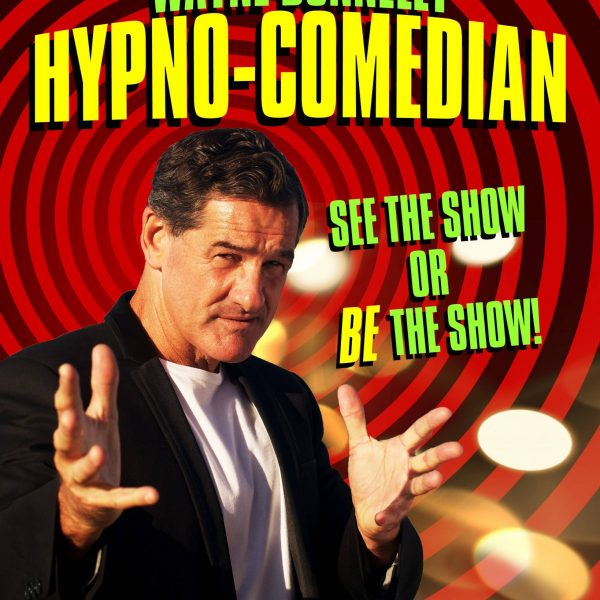 Wayne Donnelley Hypnotist and Comedian with All Things Entertainment in a mesmorising stance